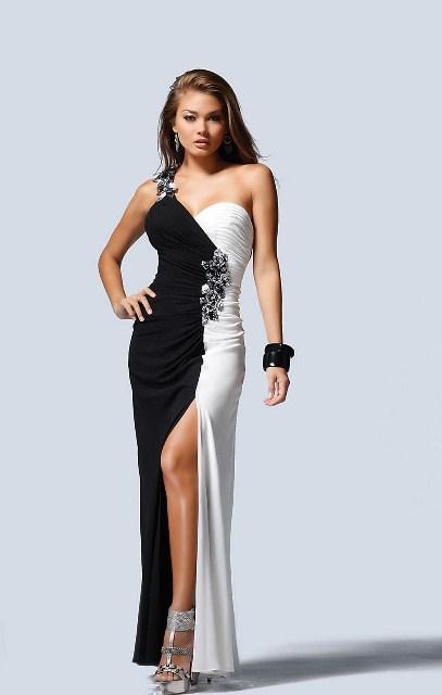2013 siyah beyaz abiye elbise modelleri