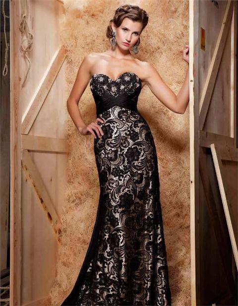 dantelli siyah abiye elbise modeli