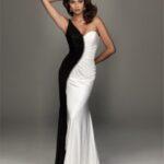 dar uzun siyah beyaz abiye elbise modeli