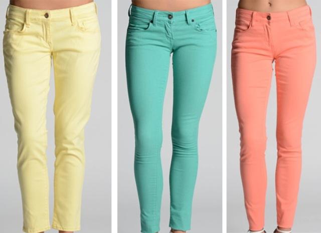mavi jeans neon renk pantolonlar