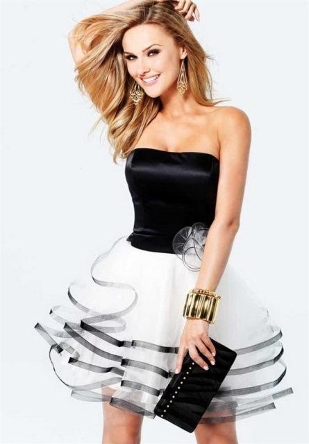 mini siyah beyaz abiye elbise modelleri