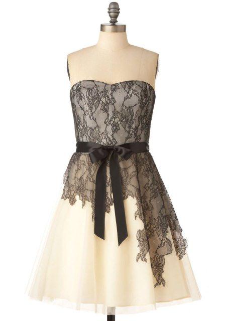 siyah beyaz dantel elbise modelleri