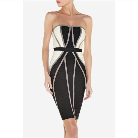 siyah beyaz straplez abiye elbise modeli