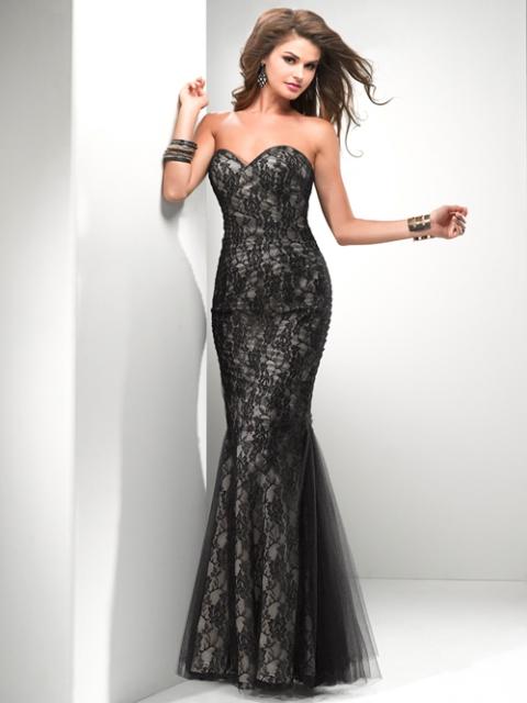 siyah dantel abiye elbise modeli