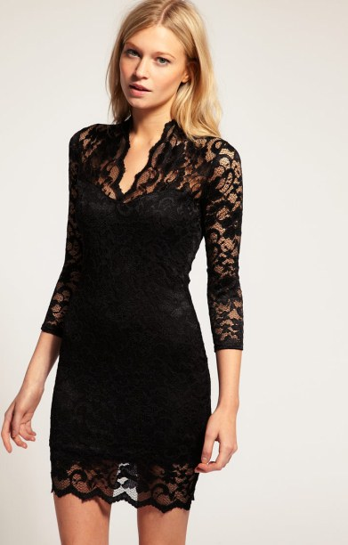 siyah mini abiye dantel elbise