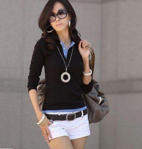 siyah uzun kollu polo  t shirt