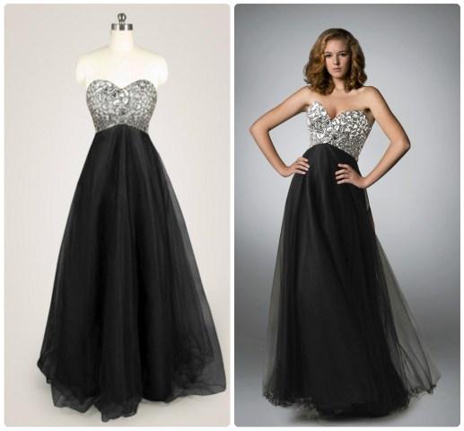 straplez siyah abiye elbise modeli
