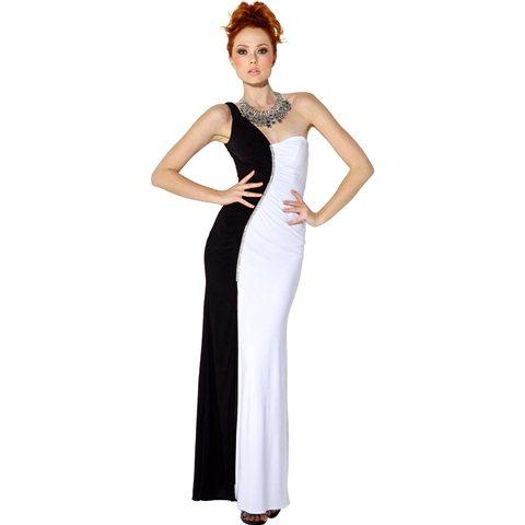 tek omuz siyah beyaz abiye elbise modeli