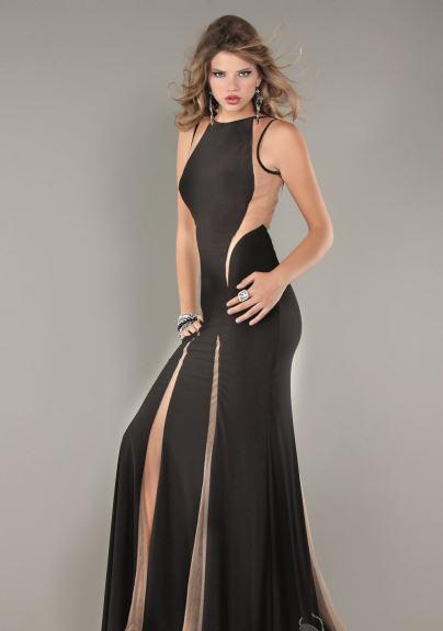 transparan siyah abiye elbise modeli