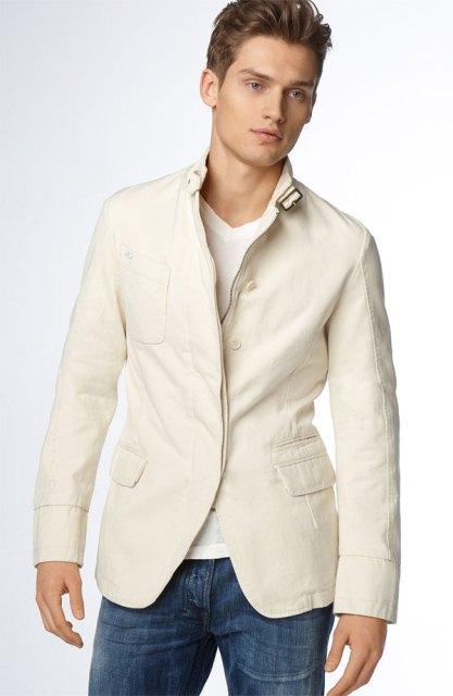 beyaz spor erkek blazer ceket modeli