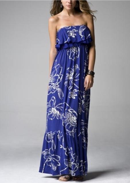 mavi uzun elbise modeli