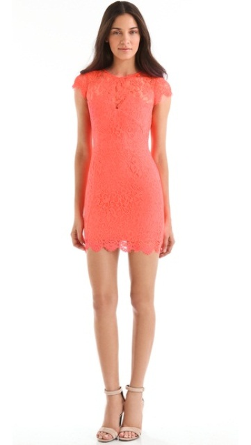 neon rengi dantel elbise
