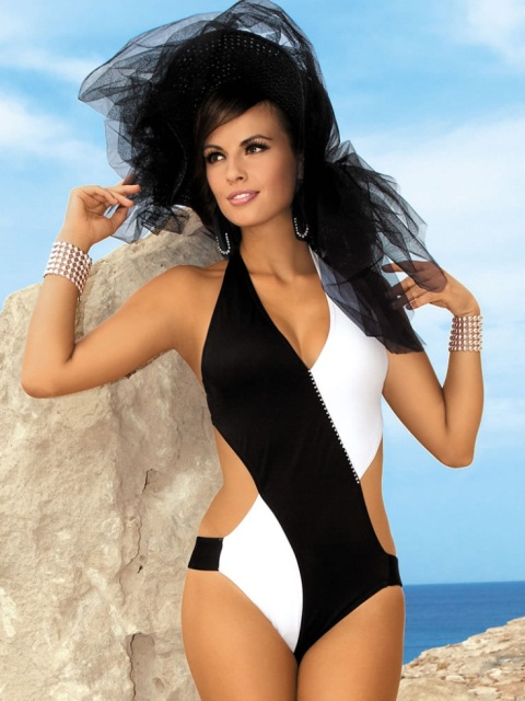 siyah beyaz mayokini modeli