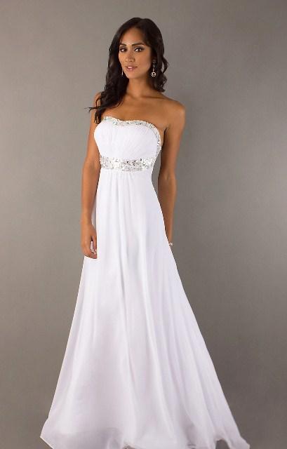 dore kemerli beyaz abiye elbise