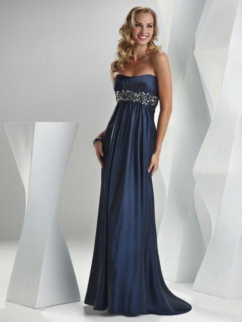 gece mavisi elbise modeli