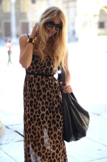 leoopar desenli uzun elbise
