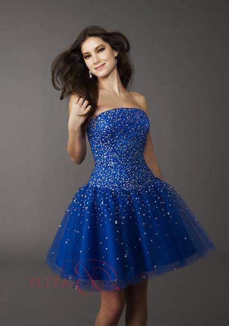 mavi payetli straplez abiye elbise