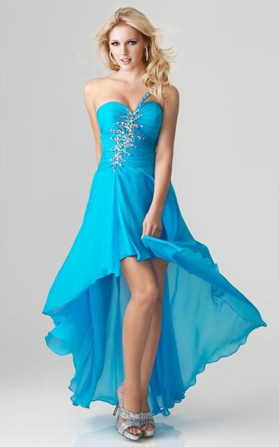 mavi straplez abiye elbise modeli