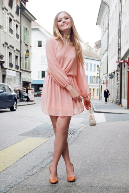 pastel renk elbise