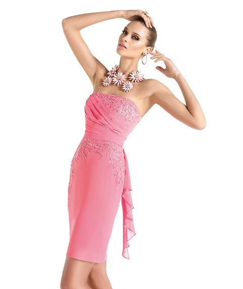 pembe straplez abiye elbise modeli
