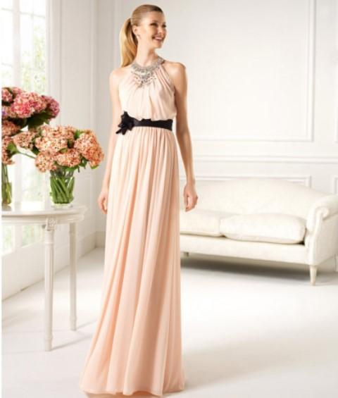 pudra rengi abiye elbise modeli