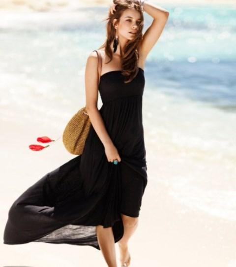 siyah uzun straplez elbise