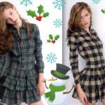 ekoseli elbise modelleri
