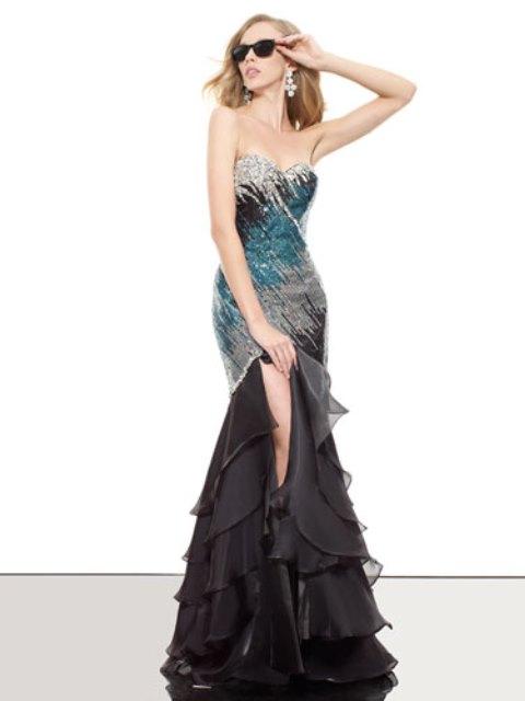 payetli uzun abiye elbise