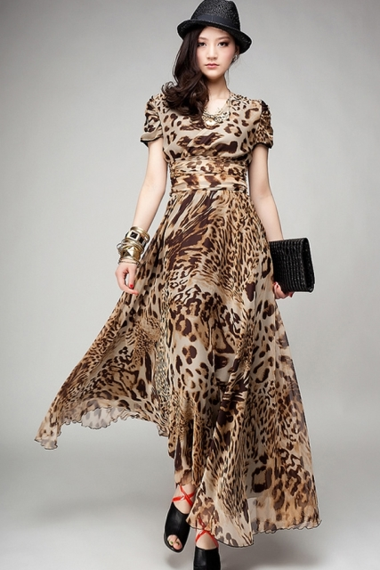 leopar desenli uzun elbise