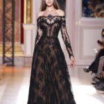 siyah dantel kollu abiye elbise