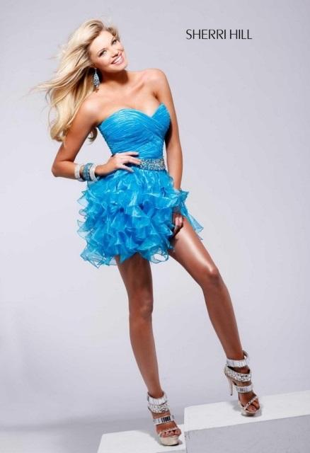 mavi mini abiye elbise
