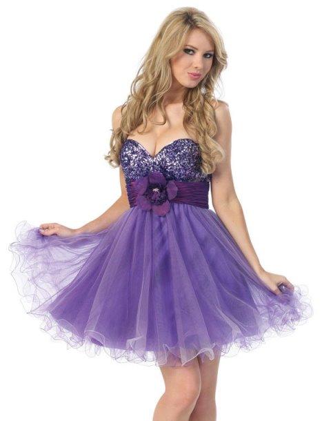 mor straplez mini abiye elbise