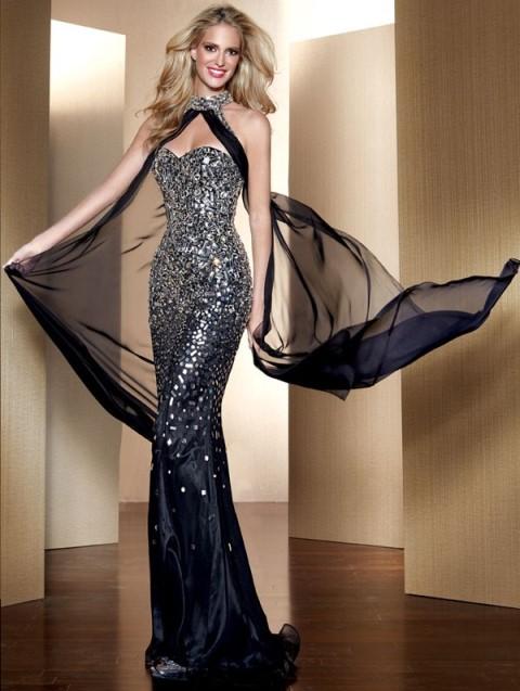 siyah dar kesim abiye elbise