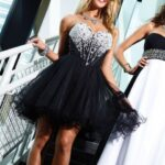 siyah mini straplez abiye elbise