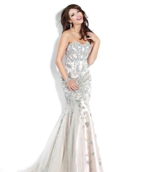uzun straplez abiye elbise