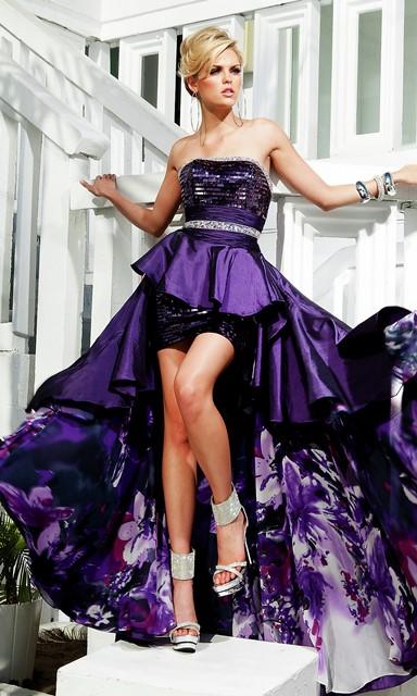 mor abiye elbise modeli