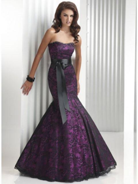 mor dantel abiye elbise