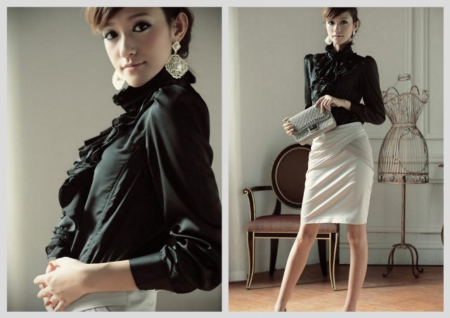 siyah klasik model saten bluz