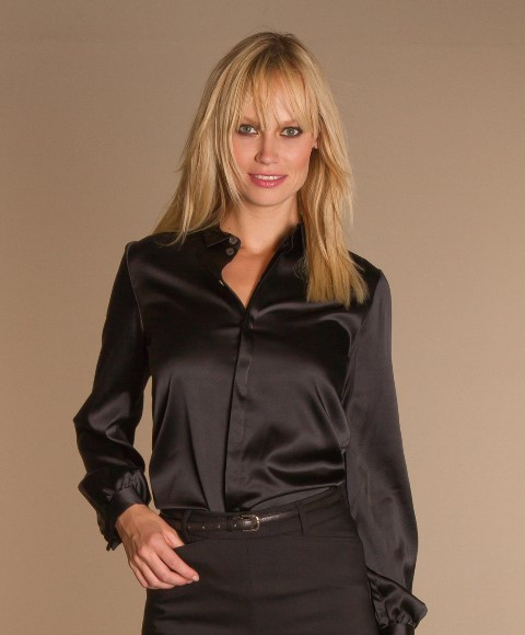 siyah uzun kollu saten bluz
