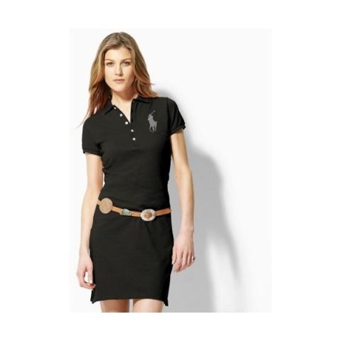 siyah belden kemerli polo elbise modeli