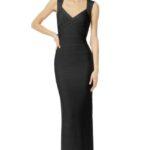 siyah uzun bandaj elbise modeli