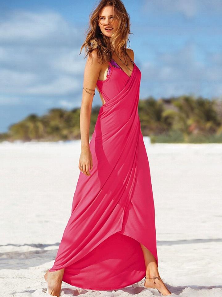 2014 victoria secret plaj elbisesi modelleri - victoria secret pembe uzun plaj elbisesi