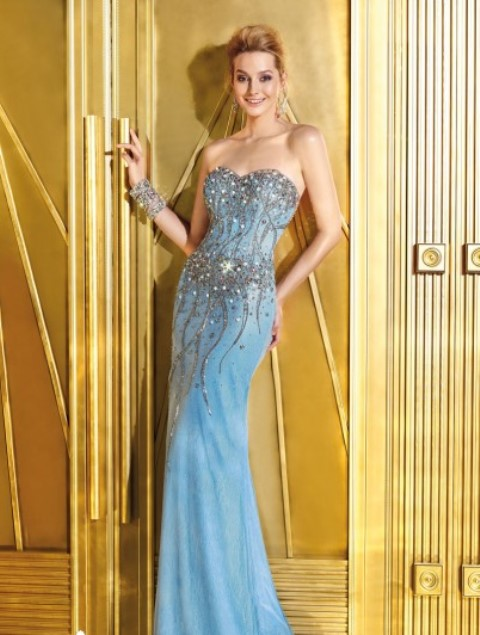 en trend mavi abiye elbise modeli