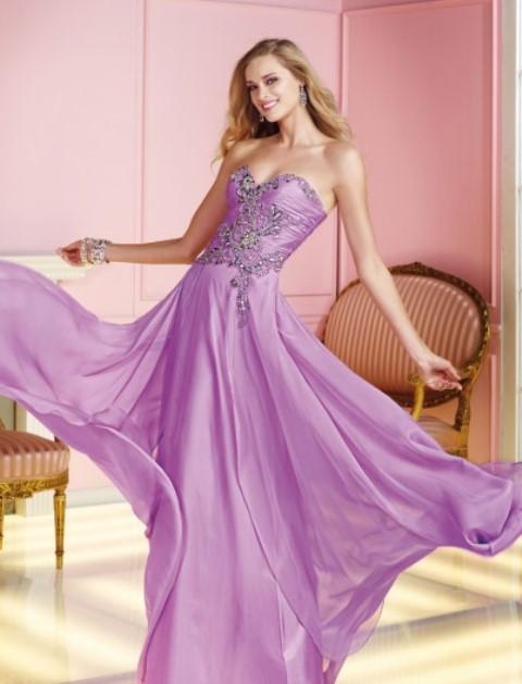 lila renk uzun abiye elbise modeli