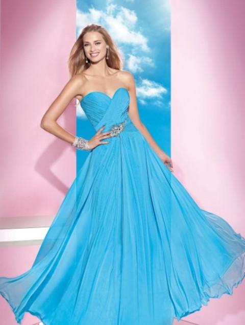 mavi straplez balo abiye elbise modeli