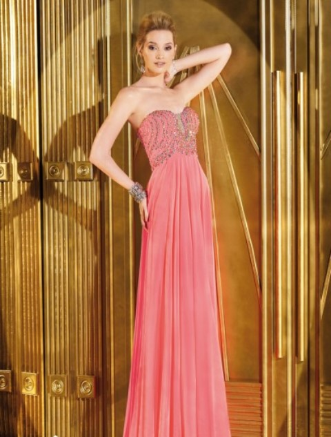 mercan rengi gece elbisesi modeli