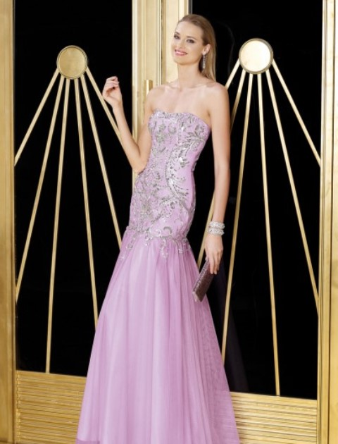 mor straplez abiye elbise modeli