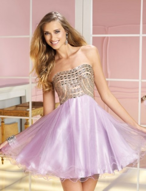 straplez mor abiye elbise modeli