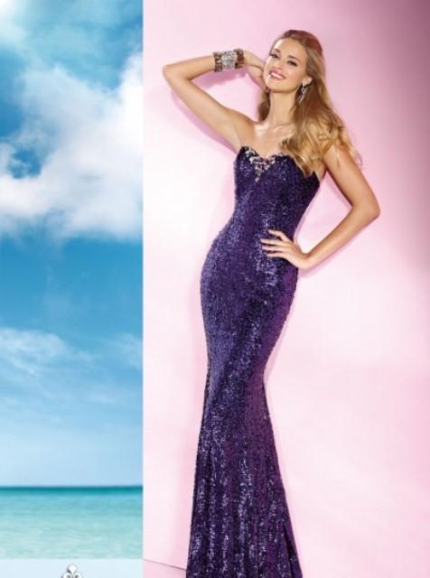 uzun payetli abiye elbise modeli