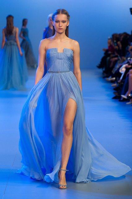 2014 Elie Saab mavi Gece Elbisesi